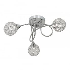Lana 3 Light Semi Flush Ceiling Fitting In Polished Chrome And Crystal Finish
