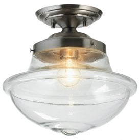 Lars Single Light Semi Flush Ceiling Fitting In Antique Chrome Finish With Clear Glass Shade