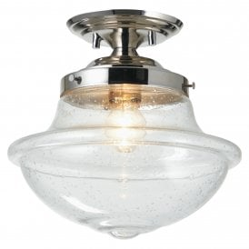 Lars Single Light Semi Flush Ceiling Fitting In Polished Chrome Finish With Clear Glass Shade