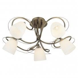 Oaks Lighting Leke 5 Light Semi-Flush Ceiling Fitting In Antique Brass Finish