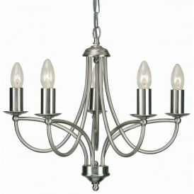 Loop 5 Light Ceiling Multi Arm Fitting in Antique Chrome