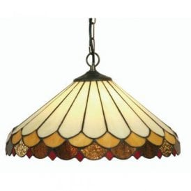 Lysander Single Light Large Tiffany Glass Ceiling Pendant