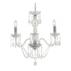 Marie Therese 3 Light Chandelier with Clear Acrylic Frame and Chrome Detail
