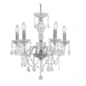 Marie Therese 5 Light Chandelier with Clear Acrylic Frame and Chrome Detail