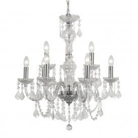 Marie Therese 9 Light Chandelier with Clear Acrylic Frame and Chrome Detail