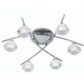 Meissa 6 Light Bathroom Semi Flush Ceiling Fitting In Polished Chrome Finish