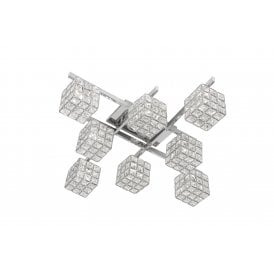 Mizar 8 Light Semi Flush Ceiling Fitting In Polished Chrome Finish With Crystal Glass Button Shades