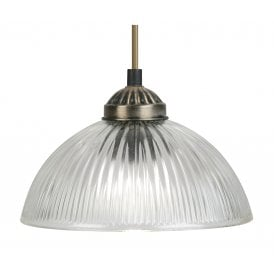 Moita Single Light Ceiling Pendant In Antique Brass Finish With Clear Glass Shade