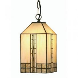 Opheila Single Light Small White Tiffany Glass Ceiling Pendant
