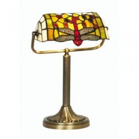 OT 1485/BL TL Dragonfly Single Light Tiffany Glass Bankers Lamp