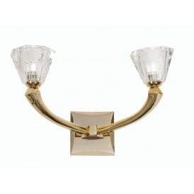 Perseas 2 Light Wall Fitting In Gold Finish With Crystal Glass Shades