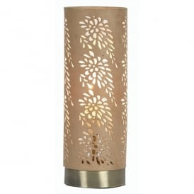 Tema Single Light Touch Operated Table Lamp in Antique Brass Finish With Taupe Shade
