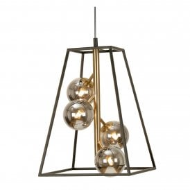 Tere 4 Light Ceiling Pendant in Black And Antique Gold Finish