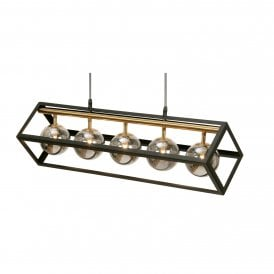 Tere 5 Light Ceiling Pendant in Black And Antique Gold Finish