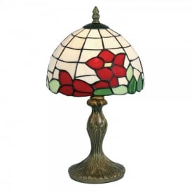 Tiffany Single Light Red Flower Table Lamp