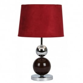 TL 914 BUR Corby Touch Table Lamp In Burgundy And Chrome Finish With Suede Effect Burgundy Shade