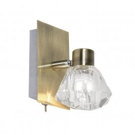 Tona Single Light Switched Wall Spotlight In Antique Brass Finish