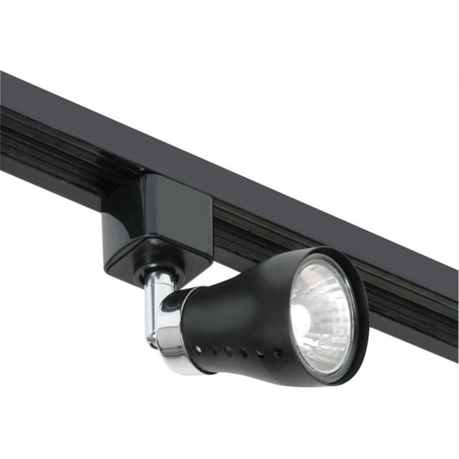 Chrome And Black Track Lighting: Oaks Lighting Track Spotlight In Black Finish With