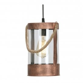 Tui Single Light Ceiling Pendant In Copper Finish With Rope Detail