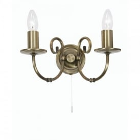 Tuscany 2 Light Wall Lamp Fitting in Antique Brass Finish