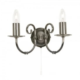 Tuscany 2 Light Wall Lamp Fitting in Antique Silver Finish