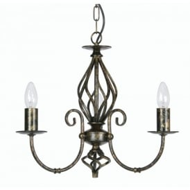 Tuscany 3 Light Ceiling Multi Arm Chandelier in Antique Brass Finish