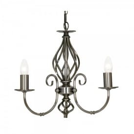 Tuscany 3 Light Ceiling Multi Arm Chandelier in Antique Silver Finish