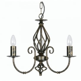 Tuscany 3 Light Ceiling Multi Arm Chandelier in Black Gold Finish