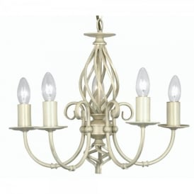 Tuscany 5 Light Ceiling Multi Arm Chandelier in Ivory Finish