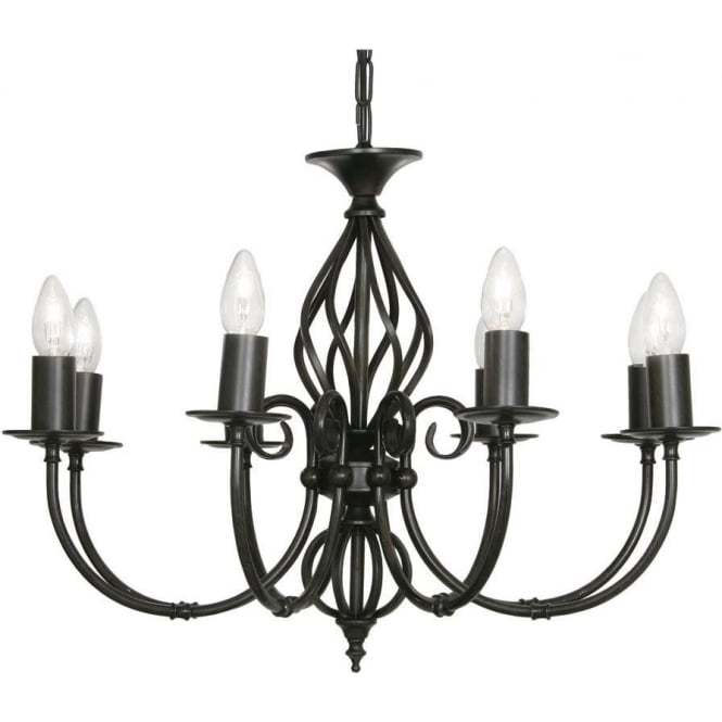 Oaks lighting tuscany 8 light ceiling multi arm chandelier in black tuscany 8 light ceiling multi arm chandelier in black gold finish aloadofball Image collections