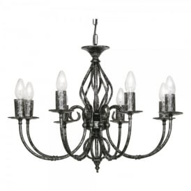 Tuscany 8 Light Ceiling Multi Arm Chandelier in Black Silver Finish