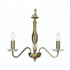 Vesta 3 Light Ceiling Multi Arm Chandelier with Crystal in Antique Brass Finish