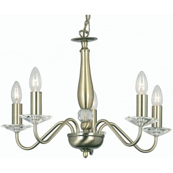 Oaks lighting vesta 5 light ceiling multi arm chandelier with vesta 5 light ceiling multi arm chandelier with crystal in antique brass finish aloadofball Choice Image