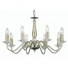 Vesta 8 Light Ceiling Multi Arm Chandelier with Crystal in Antique Brass Finish