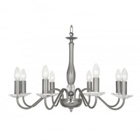 Vesta 8 Light Ceiling Multi Arm Chandelier with Crystal in Antique Silver Finish
