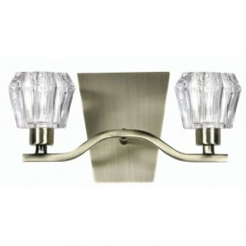 Vita 2 Light Wall Lamp Fitting in Antique Brass Finish