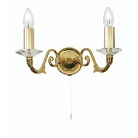 Wren 2 Light Wall Fitting With Crystal in Gold Plated Finish