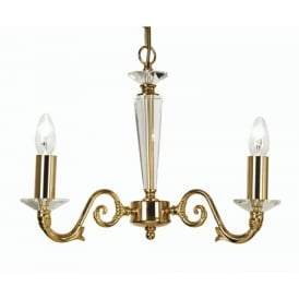Wren 3 Light Ceiling Multi Arm Chandelier With Crystal in Gold Finish