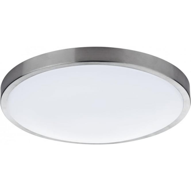High Quality Oban Single Light LED Flush Bathroom Ceiling Fitting In Satin Chrome Finish