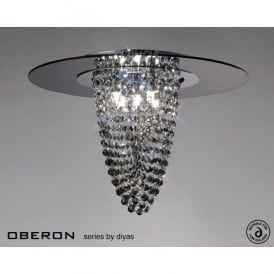 Oberon 5 Light Ceiling Fitting with Smoked Crystal and Glass Panel