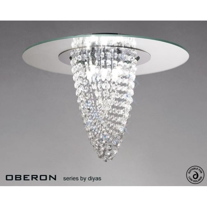 Diyas Oberon 5 Light Polished Chrome Ceiling Fitting with Mirrored Glass Panel