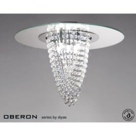 Oberon 5 Light Polished Chrome Ceiling Fitting with Mirrored Glass Panel