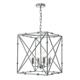 Ochus 4 Light Ceiling Lantern in Polished Chrome Finish