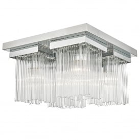 Odette 4 Light Flush Ceiling Fitting in Polished Chrome Finish with Clear Glass