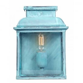 Old Bailey Single Light Solid Brass Outdoor Lantern in Verdigris