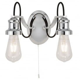 Olivia 2 Light Wall Fitting In Polished Chrome Finish With Black Braided Fabric Cable