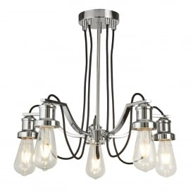 Olivia 5 Light Ceiling Pendant In Polished Chrome Finish With Black Braided Fabric Cable