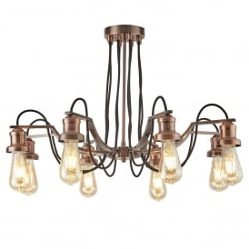Olivia 8 Light Ceiling Pendant In Antique Copper Finish With Black Braided Fabric Cable,