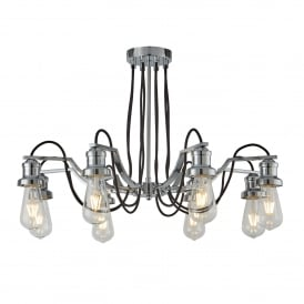 Olivia 8 Light Ceiling Pendant In Polished Chrome Finish With Black Braided Fabric Cable