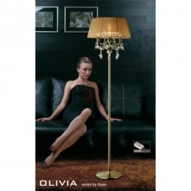 Olivia Antique Brass Finish Floor Lamp with Soft Bronze Gauze Shade